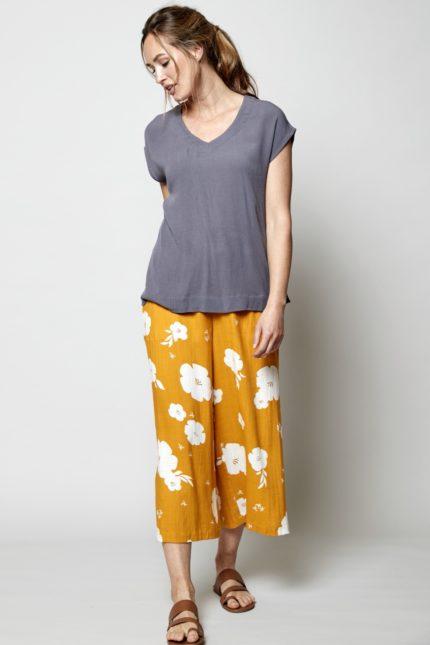 Nomads Široké kalhoty hibiscus žluté