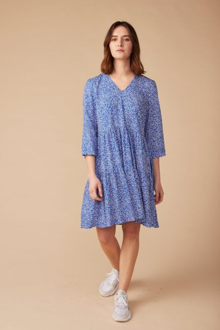 Lana Šaty helene modré z bio bavlny