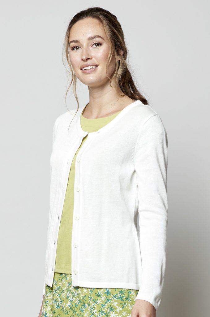 Nomads pletený kardigan bílý z bio bavlny