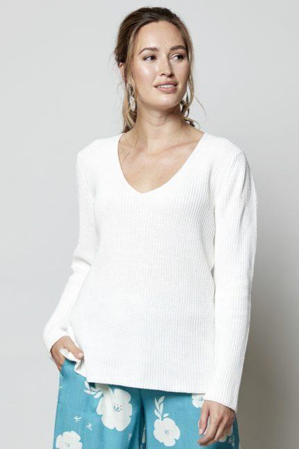 Nomads Žebrovaný svetr bílý z bio bavlny