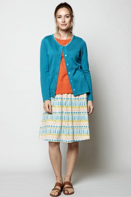 Nomads pletený kardigan modrý z bio bavlny