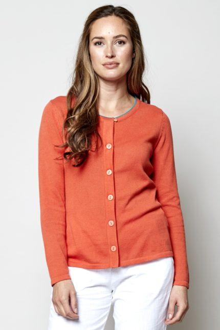 Nomads pletený kardigan oranžový z bio bavlny