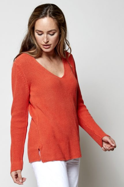 Nomads Žebrovaný svetr oranžový z bio bavlny