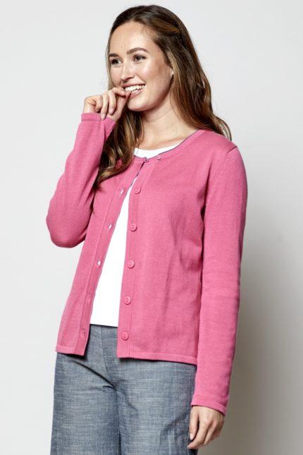 Nomads pletený kardigan růžový z bio bavlny