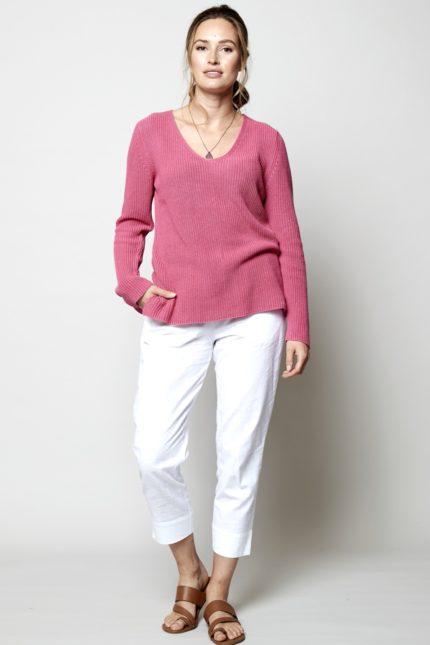 Nomads Žebrovaný svetr růžový z bio bavlny