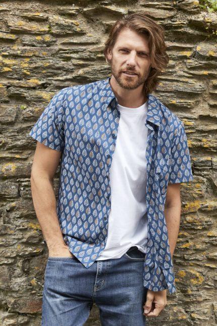 Nomads pánská košile s krátkým rukávem solitaire denim