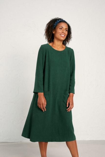 Seasalt Cornwall lněné šaty peak harvest zelené