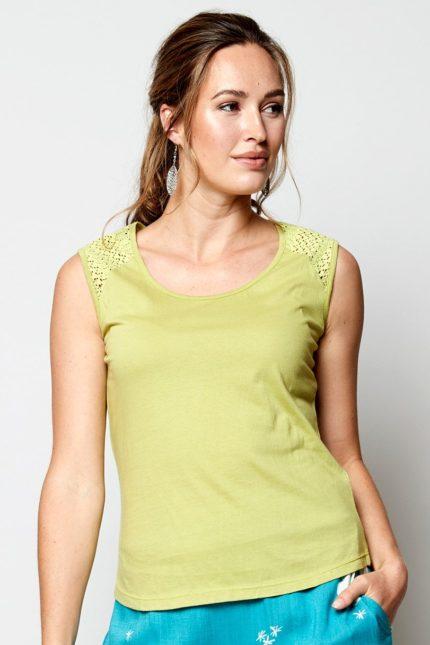 Nomads top bez rukávů zelený z bio bavlny