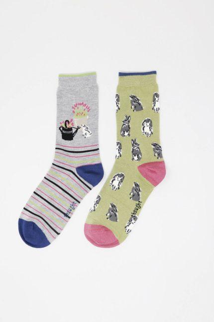 Thought dárkové dvojbalení dámských ponožek bunny