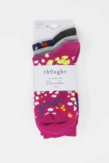 Thought dárkové trojbalení dámských ponožek rozalia floral