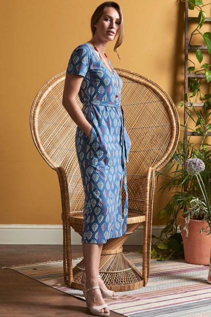 Nomads midi šaty solitaire modré