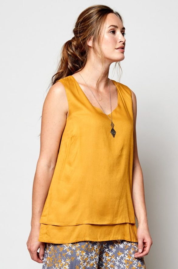 Nomads vrstvený top bez rukávů žlutý