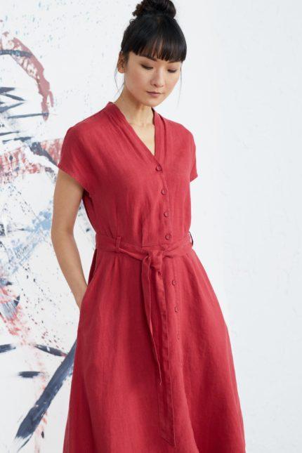 Seasalt Cornwall lněné košilové šaty herring sky červené