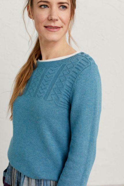Seasalt Cornwall svetr woodsmoke modrý z bio bavlny
