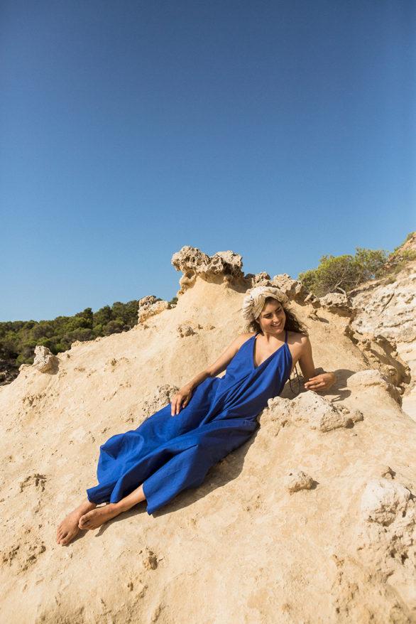 Suite13 maxi šaty daphne mazarine blue se lnem