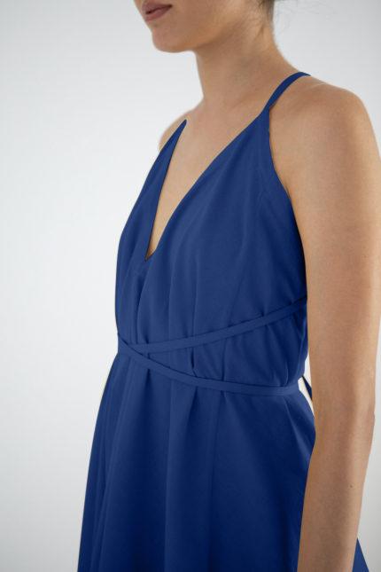 Suite13 Šaty daphne mazarine blue se lnem krátké