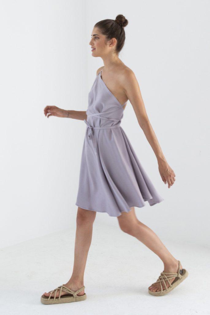 Suite13 tencelové šaty daphne lavanda krátké