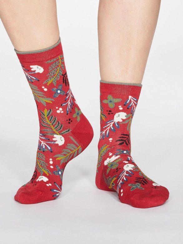 Thought dámské bambusové ponožky nelly červené