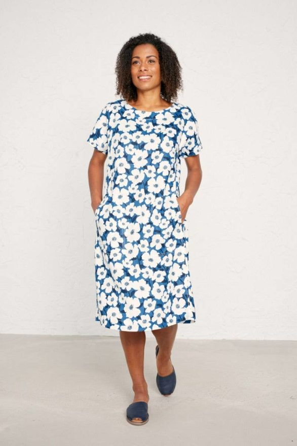 Seasalt Cornwall lněné šaty primary mallow