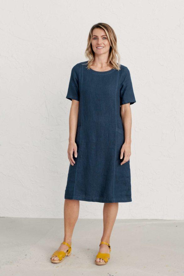Seasalt Cornwall lněné šaty painting class modré