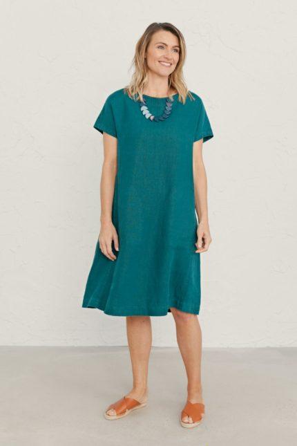 Seasalt Cornwall lněné šaty primary zelenošedé
