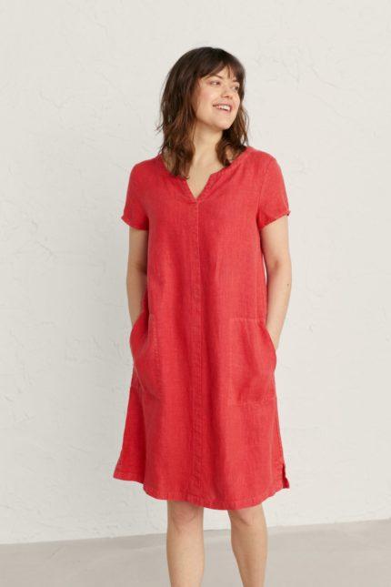 Seasalt Cornwall lněné šaty okanum squash