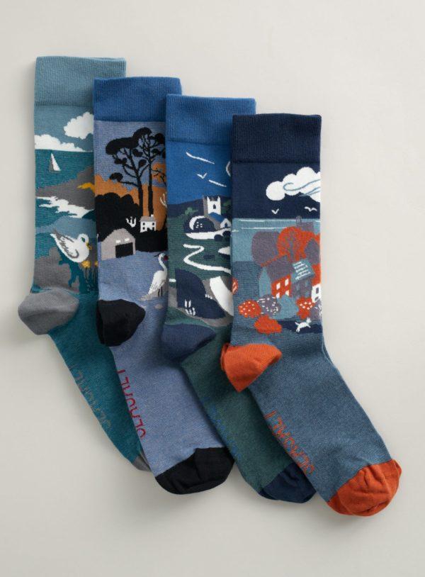 Seasalt Cornwall dárková sada pánských ponožek postcard cliffs