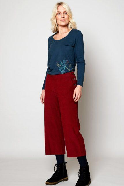 Nomads manšestrové kalhoty crop fig