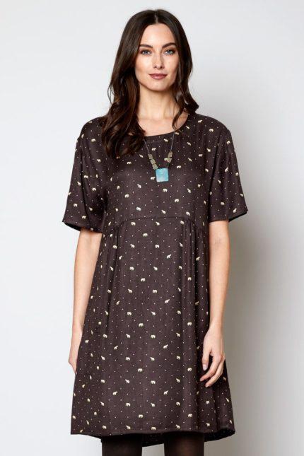 Nomads tunikové šaty chocolate