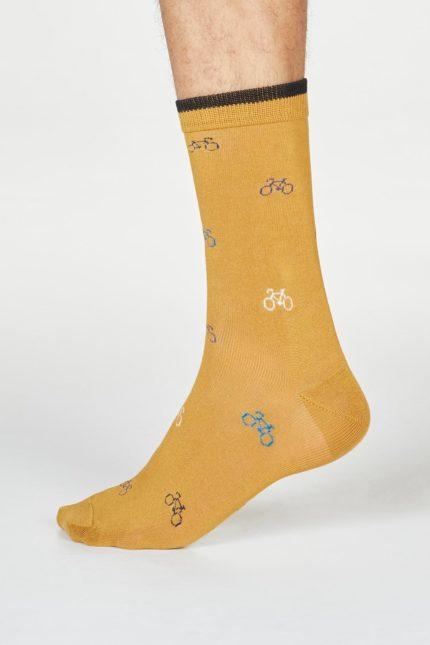 Thought pánské bambusové ponožky fergus bicycle žluté