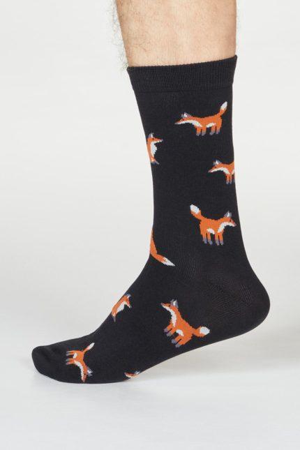 Thought pánské bambusové ponožky syd fox černé