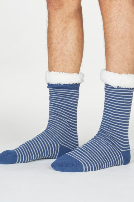 Thought pánské huňaté ponožky blaise stripe modré