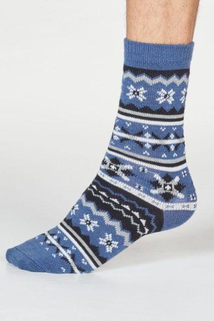Thought pánské vlněné ponožky hendry modré