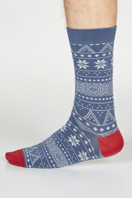 Thought pánské ponožky olwin fairisle sv. modré