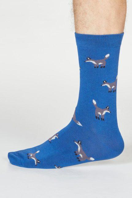 Thought pánské bambusové ponožky syd fox modré