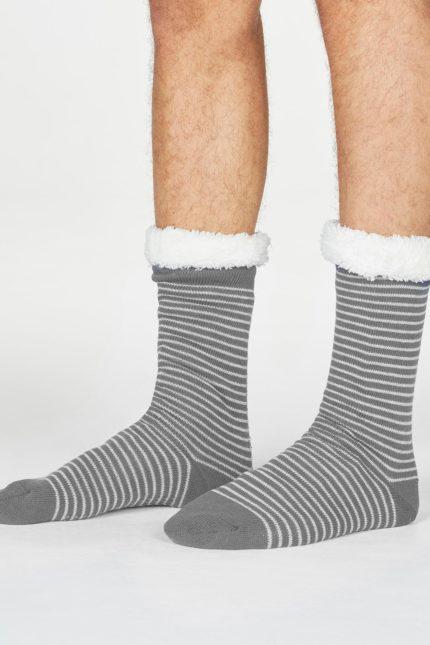 Thought pánské huňaté ponožky blaise stripe šedé