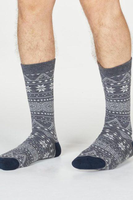 Thought pánské ponožky olwin fairisle šedé