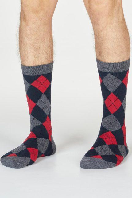 Thought pánské bambusové ponožky philip argyll šedočervené