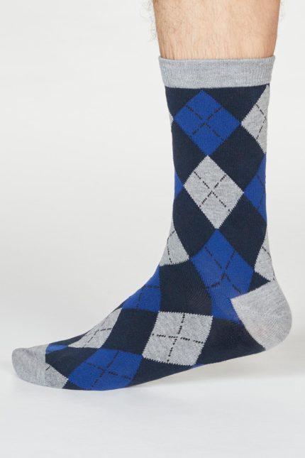 Thought pánské bambusové ponožky philip argyll šedomodré