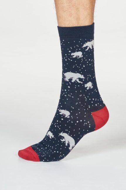 Thought pánské ponožky lon polar bear navy