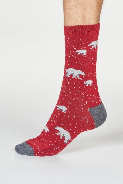 Thought pánské ponožky lon polar bear červené