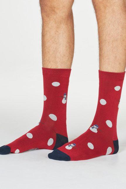 Thought pánské ponožky markus snowman červené