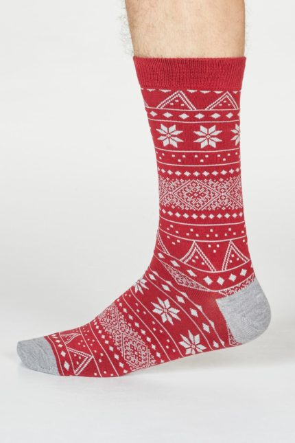 Thought pánské ponožky olwin fairisle červené