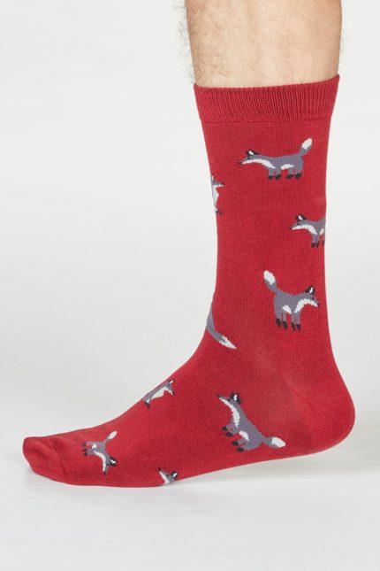 Thought pánské bambusové ponožky syd fox červené