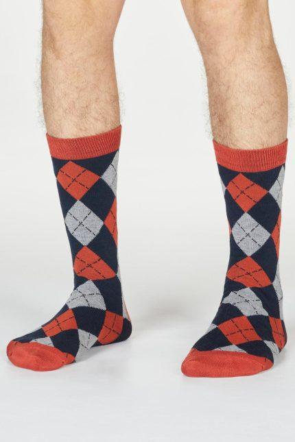 Thought pánské bambusové ponožky philip argyll oranžové