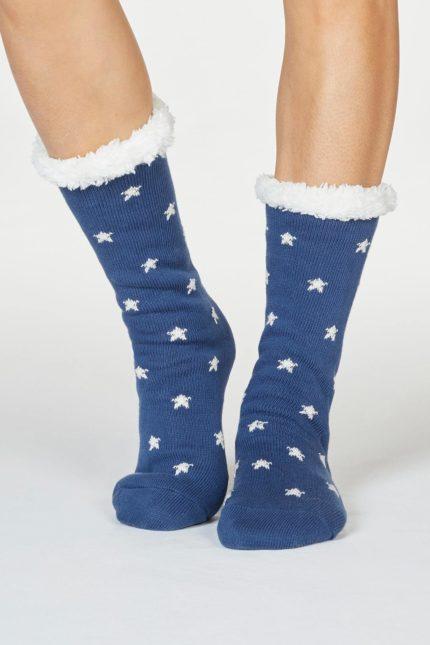 Thought dámské huňaté ponožky brittany modré