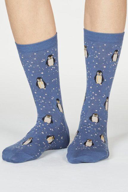 Thought dámské bambusové ponožky dona penguin modré