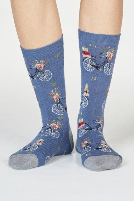 Thought dámské bambusové ponožky helen bike modré
