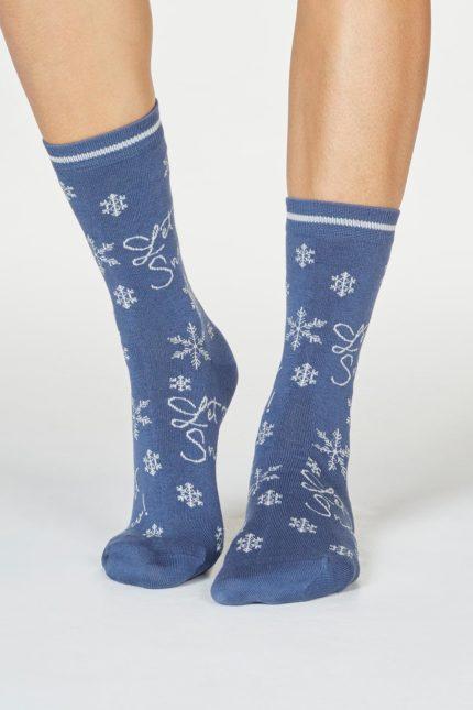 Thought dámské bambusové ponožky bobbie snow modré