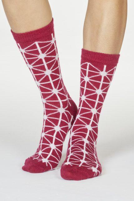 Thought dámské vlněné ponožky jannie červené